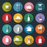 Iconos planos de la cocina Fotos de archivo
