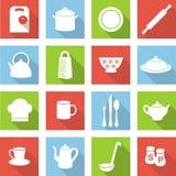 Iconos planos de la cocina Foto de archivo libre de regalías