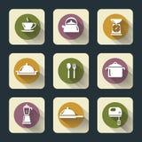 Iconos planos de la cocina Imagen de archivo