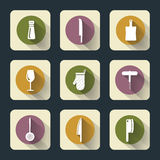 Iconos planos de la cocina Imagenes de archivo