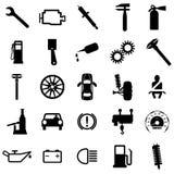 Iconos planos de la colección. Símbolos del coche. Vector Imagen de archivo
