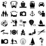 Iconos planos de la colección. Símbolos del viaje. Vector stock de ilustración
