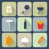 Iconos planos de la comida Fotografía de archivo libre de regalías