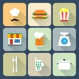 Iconos planos de la comida Fotos de archivo libres de regalías