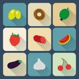 Iconos planos de la comida Imagen de archivo