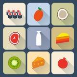 Iconos planos de la comida Imágenes de archivo libres de regalías