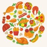 Iconos planos de la comida Imagen de archivo libre de regalías