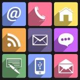 Iconos planos de la comunicación fijados Foto de archivo libre de regalías
