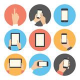 Iconos planos de la comunicación móvil fijados Fotos de archivo libres de regalías