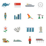 Iconos planos de la cultura de Singapur fijados Imágenes de archivo libres de regalías