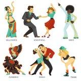 Iconos planos de la danza nativa popular fijados ilustración del vector