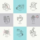 Iconos planos de la diarrea ilustración del vector