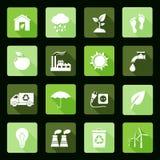 Iconos planos de la ecología Imagen de archivo libre de regalías