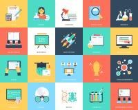 Iconos planos de la educación creativa stock de ilustración