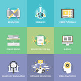 Iconos planos de la educación a distancia fijados Foto de archivo libre de regalías