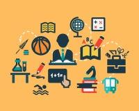 Iconos planos de la educación fijados Fotografía de archivo libre de regalías