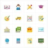 Iconos planos de la educación - sistema 1 Fotos de archivo libres de regalías