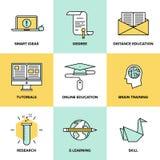 Iconos planos de la educación y formación en línea fijados Foto de archivo libre de regalías