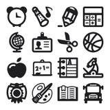 Iconos planos de la escuela. Negro Foto de archivo