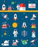 Iconos planos de la exploración del cosmos del espacio fijados Fotografía de archivo