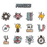 Iconos planos de la física fijados libre illustration