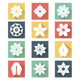 Iconos planos de la flor blanca Fotografía de archivo