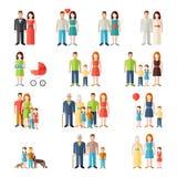 Iconos planos de la gente del estilo de la familia stock de ilustración