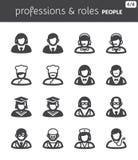 Iconos planos de la gente. Profesiones y papeles Imagen de archivo libre de regalías