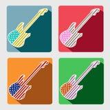 Iconos planos de la guitarra americana con la sombra larga Fotografía de archivo libre de regalías
