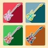 Iconos planos de la guitarra británica con la sombra larga Foto de archivo