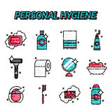 Iconos planos de la higiene personal fijados Fotos de archivo