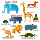 Iconos planos de la historieta de los animales salvajes y domésticos Fotografía de archivo