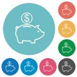 Iconos planos de la hucha del dólar Imagen de archivo
