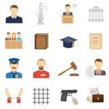 Iconos planos de la justicia fijados Foto de archivo libre de regalías