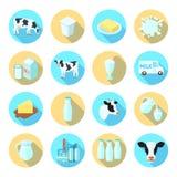 Iconos planos de la leche fijados Imágenes de archivo libres de regalías