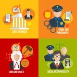 Iconos planos de la ley Imagenes de archivo