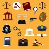 Iconos planos de la ley, de la justicia y de la policía Fotos de archivo