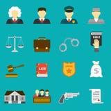 Iconos planos de la ley y de la justicia fijados Foto de archivo libre de regalías