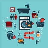 Iconos planos de la limpieza fijados Foto de archivo libre de regalías