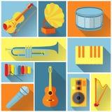 Iconos planos de la música, sistema Imagen de archivo libre de regalías