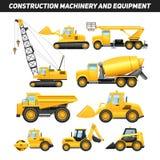 Iconos planos de la maquinaria del material de construcción fijados Fotos de archivo libres de regalías