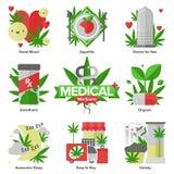 Iconos planos de la marijuana médica fijados ilustración del vector