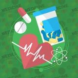 Iconos planos de la medicina fijados Las píldoras encajonan, las tabletas, píldora, ampolla, vitaminas, líquido Vector Foto de archivo
