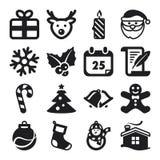 Iconos planos de la Navidad Fotos de archivo