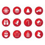 Iconos planos de la Navidad Foto de archivo