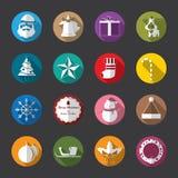 Iconos planos de la Navidad, blancos Imágenes de archivo libres de regalías