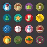 Iconos planos de la Navidad, color Fotos de archivo libres de regalías