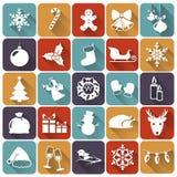 Iconos planos de la Navidad. Ejemplo del vector. Fotografía de archivo libre de regalías