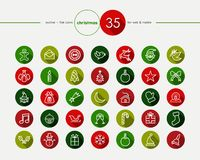 Iconos planos de la Navidad fijados Fotografía de archivo