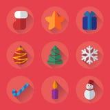 Iconos planos de la Navidad fijados para el día de fiesta Foto de archivo libre de regalías